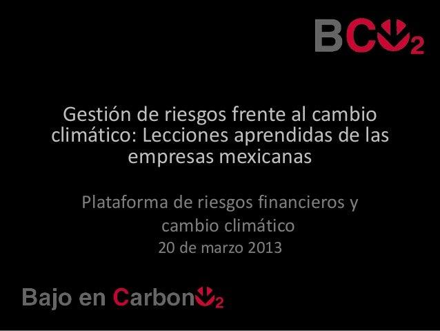 Gestión de riesgos frente al cambioclimático: Lecciones aprendidas de las         empresas mexicanas   Plataforma de riesg...