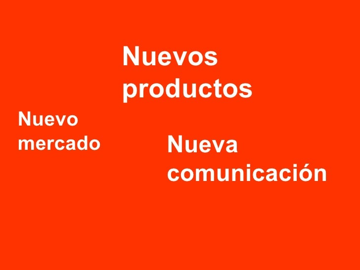 Nuevo mercado Nueva comunicación Nuevos productos