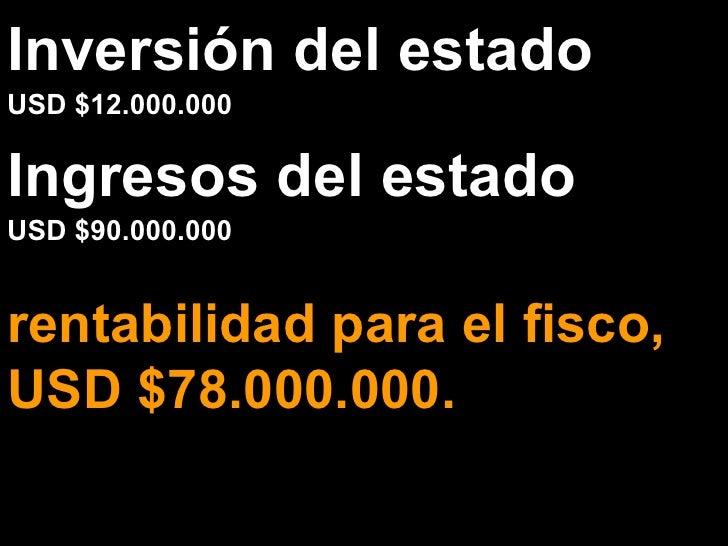 Inversión del estado USD $12.000.000 rentabilidad para el fisco, USD $78.000.000. Ingresos del estado USD $90.000.000