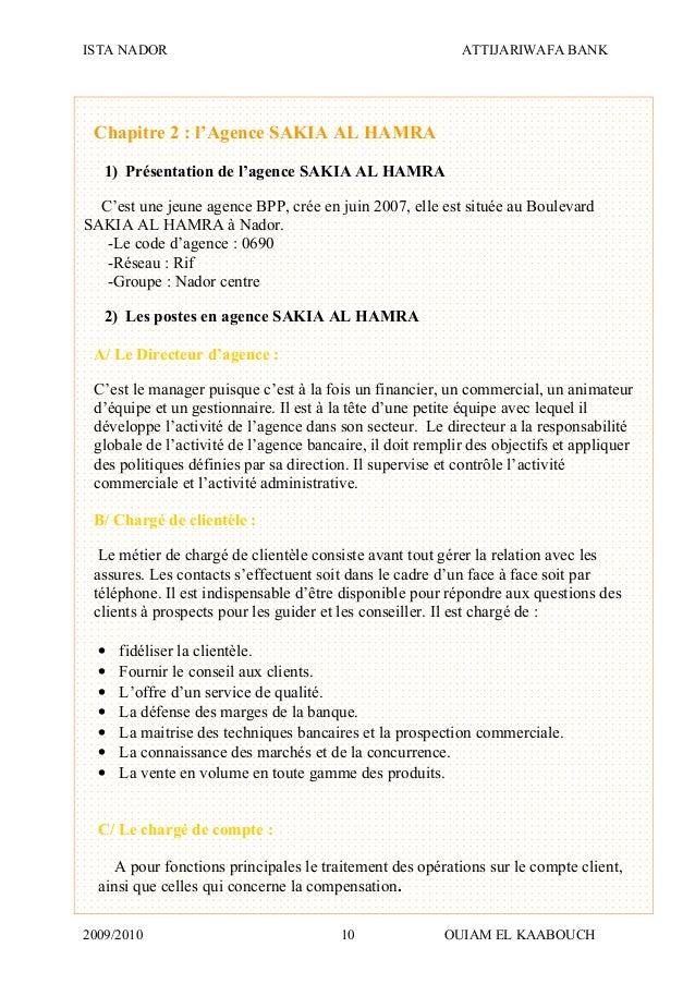 ISTA NADOR ATTIJARIWAFA BANK 2009/2010 OUIAM EL KAABOUCH10 Chapitre 2 : l'Agence SAKIA AL HAMRA 1) Présentation de l'agenc...