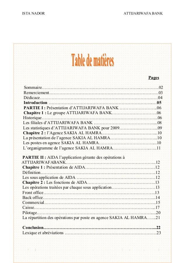 ISTA NADOR ATTIJARIWAFA BANK 2009/2010 OUIAM EL KAABOUCH24 Pages Sommaire………………………………………………………….…………..02 Remerciement……………...