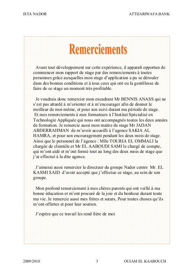 ISTA NADOR ATTIJARIWAFA BANK 2009/2010 OUIAM EL KAABOUCH3 Avant tout développement sur cette expérience, il apparaît oppor...