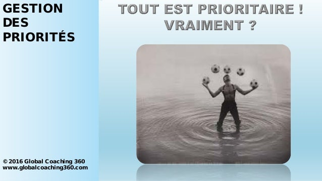 GESTION DES PRIORITÉS © 2016 Global Coaching 360 www.globalcoaching360.com