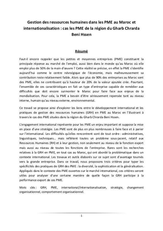 1  Gestion des ressources humaines dans les PME au Maroc et internationalisation : cas les PME de la région du Gharb Chrar...
