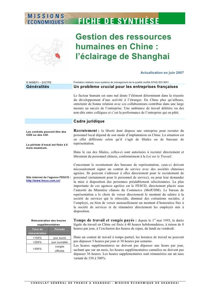 Gestion des ressources                                     humaines en Chine :                                     l'éclai...