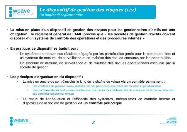 Le dispositif de gestion des risques (1/2)                    Un impératif réglementaire• La mise en place d'un dispositif...
