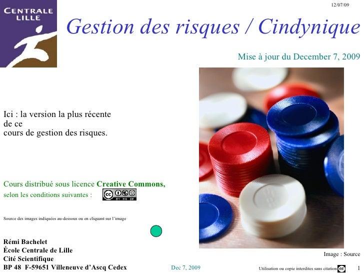 Gestion des risques /  Cindynique Image :  Source Rémi Bachelet  École Centrale de Lille Cité Scientifique  BP 48  F-59651...
