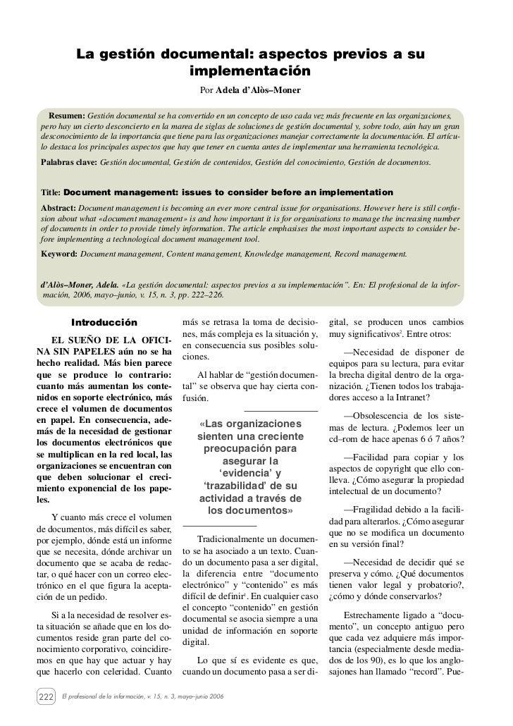 La gestión documental: aspectos previos a su                          implementación                                      ...
