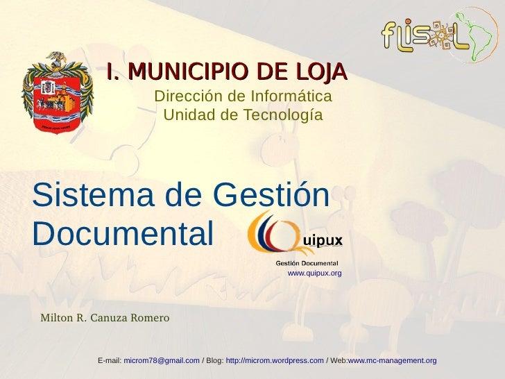 I. MUNICIPIO DE LOJA                         Dirección de Informática                          Unidad de Tecnología     Si...