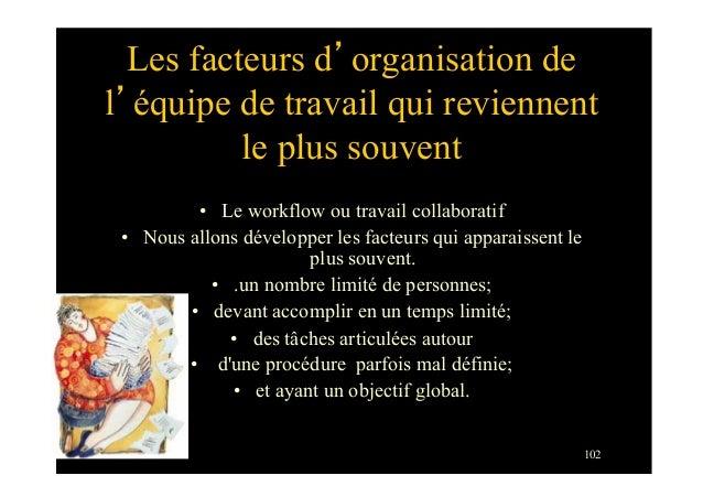 102Les facteurs d'organisation del'équipe de travail qui reviennentle plus souvent• Le workflow ou travail collaboratif•...