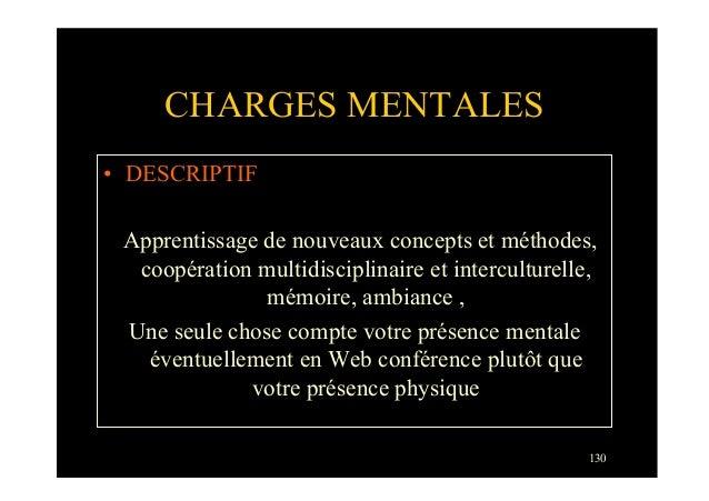 130CHARGES MENTALES• DESCRIPTIFApprentissage de nouveaux concepts et méthodes,coopération multidisciplinaire et intercult...