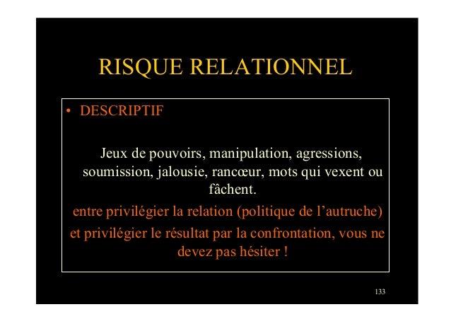 133RISQUE RELATIONNEL• DESCRIPTIFJeux de pouvoirs, manipulation, agressions,soumission, jalousie, rancœur, mots qui vexen...