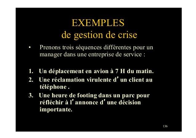 136EXEMPLESde gestion de crise• Prenons trois séquences différentes pour unmanager dans une entreprise de service :1. Un...