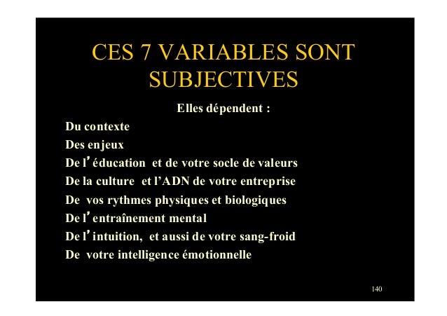 140CES 7 VARIABLES SONTSUBJECTIVESElles dépendent :Du contexteDes enjeuxDe l'éducation et de votre socle de valeursDe la c...