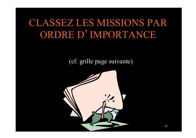 15CLASSEZ LES MISSIONS PARORDRE D'IMPORTANCE(cf. grille page suivante)