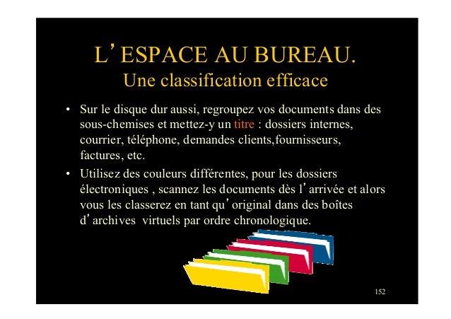 152L'ESPACE AU BUREAU.Une classification efficace• Sur le disque dur aussi, regroupez vos documents dans dessous-chemises...