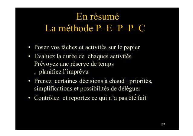 En résuméLa méthode P–E–P–P–C• Posez vos tâches et activités sur le papier• Evaluez la durée de chaques activitésPrévoye...
