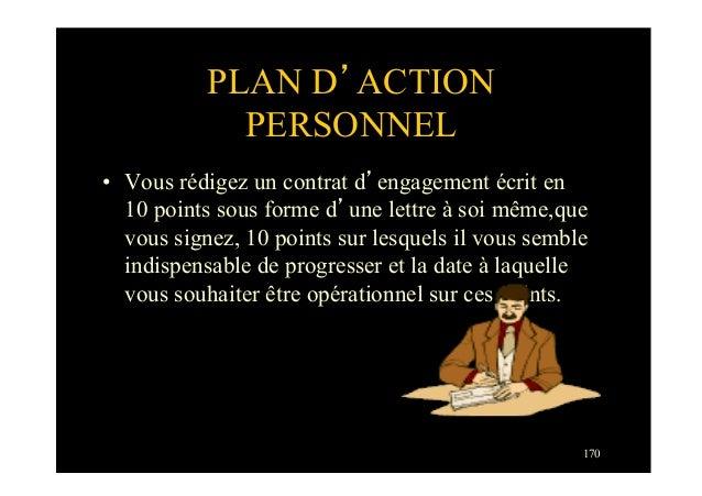 170PLAN D'ACTIONPERSONNEL• Vous rédigez un contrat d'engagement écrit en10 points sous forme d'une lettre à soi même,quev...