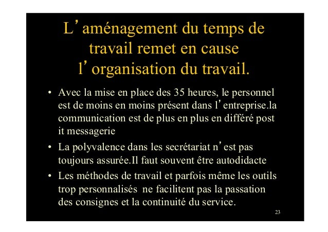 23L'aménagement du temps detravail remet en causel'organisation du travail.• Avec la mise en place des 35 heures, le pers...