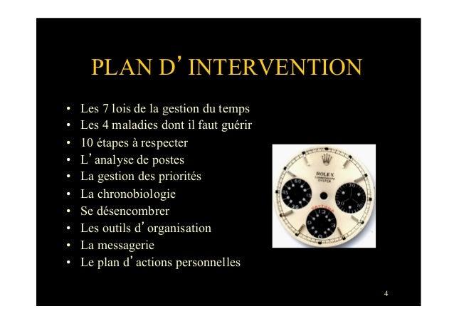 4PLAN D'INTERVENTION• Les 7 lois de la gestion du temps• Les 4 maladies dont il faut guérir• 10 étapes à respecter• L'...