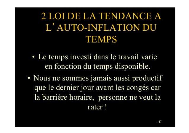 472 LOI DE LA TENDANCE AL'AUTO-INFLATION DUTEMPS• Le temps investi dans le travail varieen fonction du temps disponible.•...