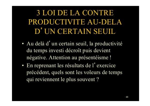 483 LOI DE LA CONTREPRODUCTIVITE AU-DELAD'UN CERTAIN SEUIL• Au delà d'un certain seuil, la productivitédu temps investi d...