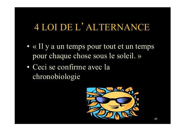 494 LOI DE L'ALTERNANCE• « Il y a un temps pour tout et un tempspour chaque chose sous le soleil. »• Ceci se confirme av...