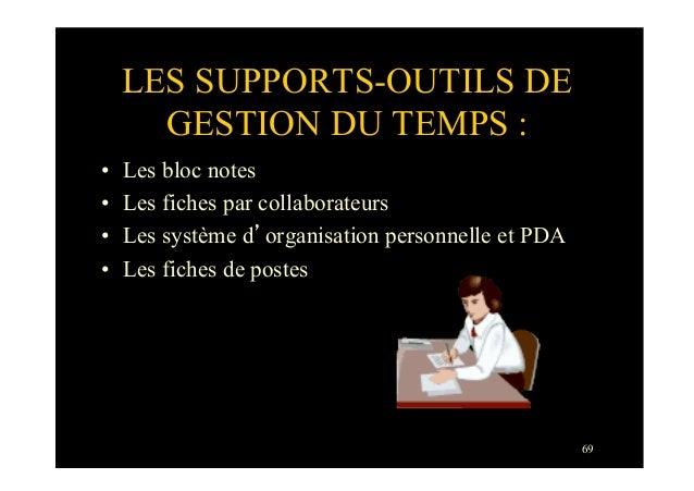 69LES SUPPORTS-OUTILS DEGESTION DU TEMPS :• Les bloc notes• Les fiches par collaborateurs• Les système d'organisation p...