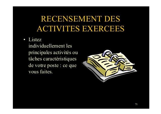 71RECENSEMENT DESACTIVITES EXERCEES• Listezindividuellement lesprincipales activités outâches caractéristiquesde votre po...