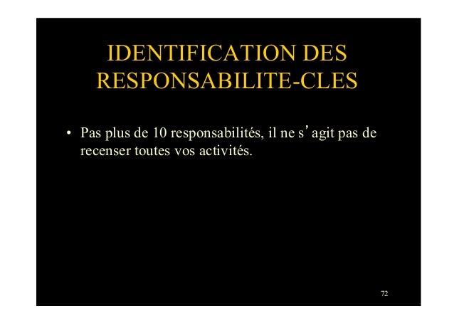 72IDENTIFICATION DESRESPONSABILITE-CLES• Pas plus de 10 responsabilités, il ne s'agit pas derecenser toutes vos activités.