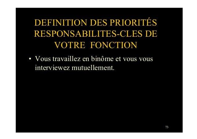 73DEFINITION DES PRIORITÉSRESPONSABILITES-CLES DEVOTRE FONCTION• Vous travaillez en binôme et vous vousinterviewez mutuel...