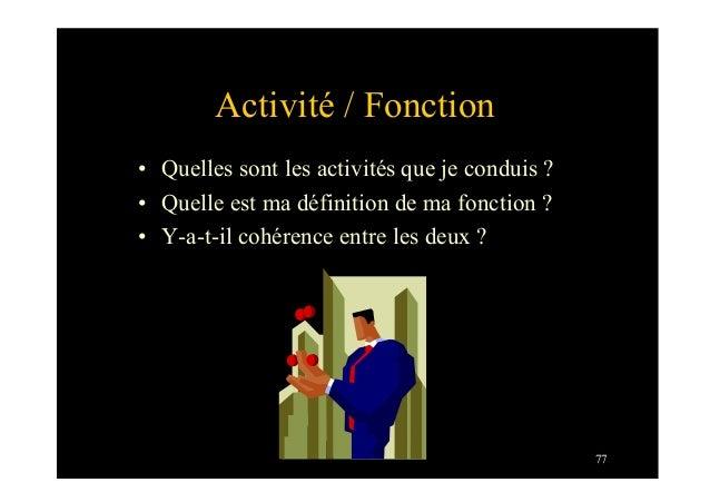 77Activité / Fonction• Quelles sont les activités que je conduis ?• Quelle est ma définition de ma fonction ?• Y-a-t-il...