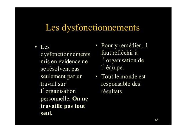 88Les dysfonctionnements• Lesdysfonctionnementsmis en évidence nese résolvent passeulement par untravail surl'organisatio...