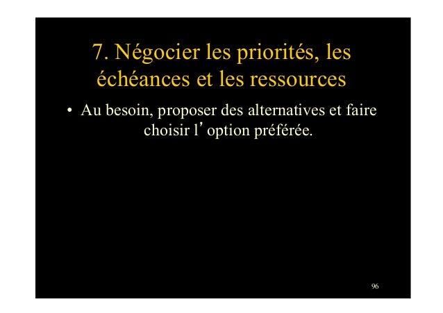 967. Négocier les priorités, leséchéances et les ressources• Au besoin, proposer des alternatives et fairechoisir l'optio...