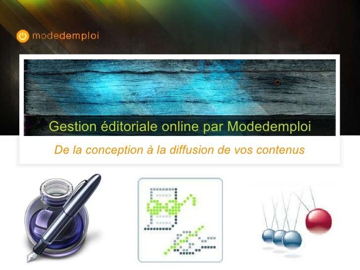 De la conception à la diffusion de vos contenus Gestion éditoriale online par Modedemploi