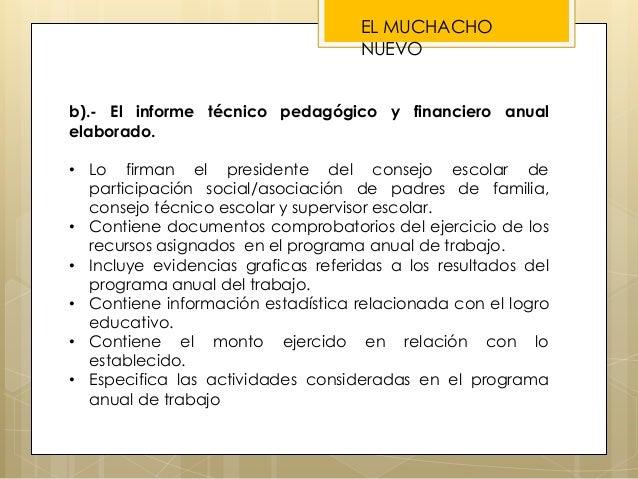 b).- El informe técnico pedagógico y financiero anual elaborado. • Lo firman el presidente del consejo escolar de particip...