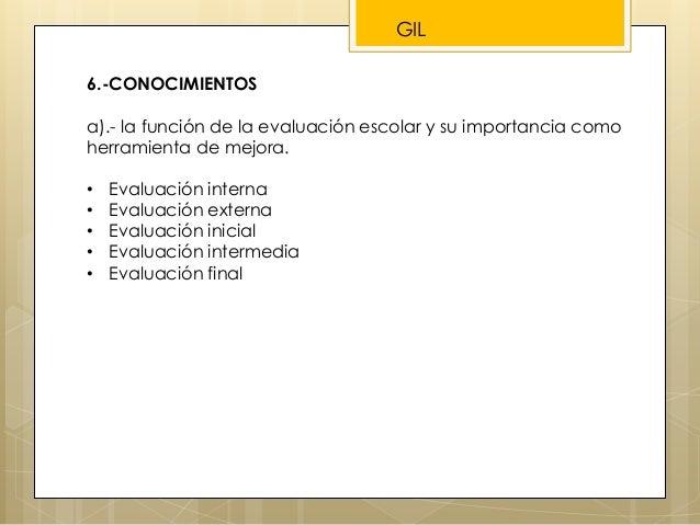 6.-CONOCIMIENTOS a).- la función de la evaluación escolar y su importancia como herramienta de mejora. • Evaluación intern...