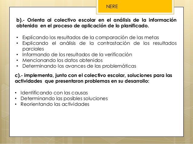 b).- Orienta al colectivo escolar en el análisis de la información obtenida en el proceso de aplicación de lo planificado....