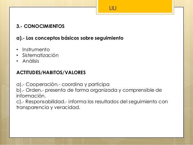 3.- CONOCIMIENTOS a).- Los conceptos básicos sobre seguimiento • Instrumento • Sistematización • Análisis ACTITUDES/HABITO...