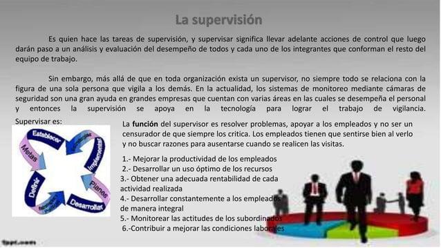 Es quien hace las tareas de supervisión, y supervisar significa llevar adelante acciones de control que luego darán paso a...