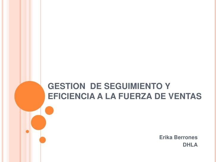 GESTION DE SEGUIMIENTO Y EFICIENCIA A LA FUERZA DE VENTAS<br />Erika Berrones<br />DHLA<br />