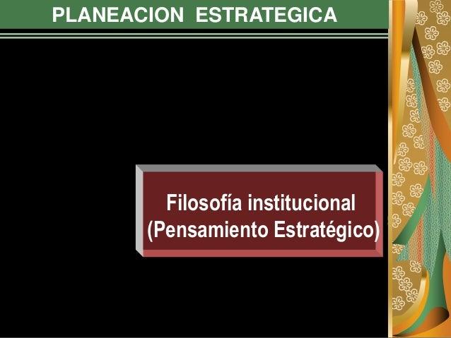 PLANEACION ESTRATEGICA Filosofía institucional (Pensamiento Estratégico)