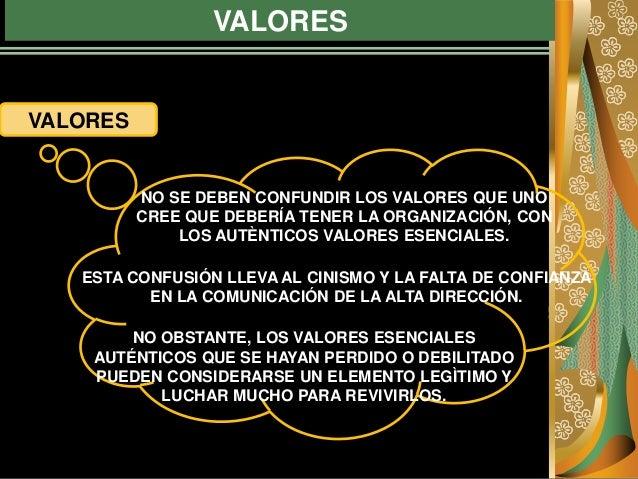 VALORES VALORES NO SE DEBEN CONFUNDIR LOS VALORES QUE UNO CREE QUE DEBERÍA TENER LA ORGANIZACIÓN, CON LOS AUTÈNTICOS VALOR...