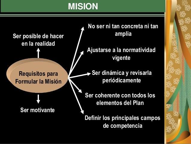 MISION No ser ni tan concreta ni tan ampliaSer posible de hacer en la realidad Ajustarse a la normatividad vigente Ser din...