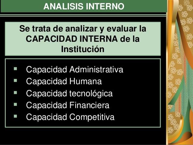 ANALISIS INTERNO  Capacidad Administrativa  Capacidad Humana  Capacidad tecnológica  Capacidad Financiera  Capacidad ...