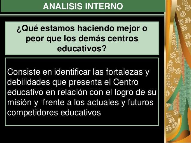 ANALISIS INTERNO Consiste en identificar las fortalezas y debilidades que presenta el Centro educativo en relación con el ...