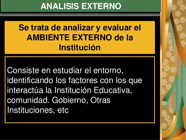 ANALISIS EXTERNO Consiste en estudiar el entorno, identificando los factores con los que interactúa la Institución Educati...