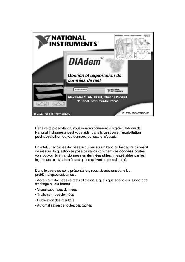 Gestion et exploitation de données de test  Alexandre STANURSKI, Chef de Produit National Instruments France  NIDays, Pari...