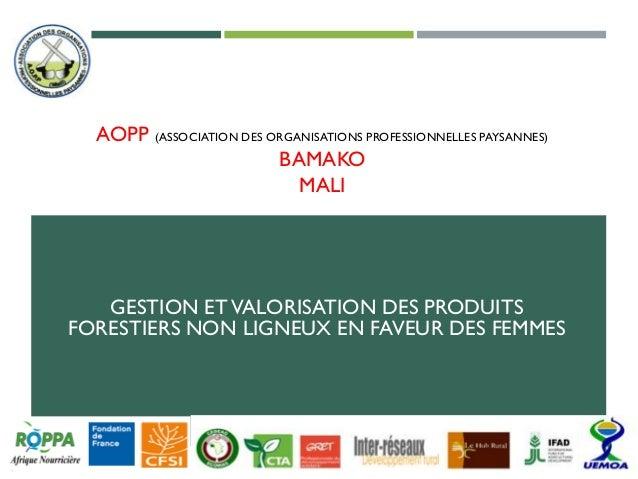 AOPP (ASSOCIATION DES ORGANISATIONS PROFESSIONNELLES PAYSANNES) BAMAKO MALI GESTION ETVALORISATION DES PRODUITS FORESTIERS...