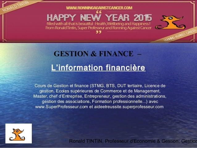 Ronald TINTIN, Professeur d'Economie & Gestion, Gestion Cours de Gestion et finance (STMG, BTS, DUT tertiaire, Licence de ...